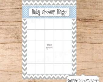 Baby Shower Bingo Card/ Grey Chevron/Blue Baby Shower Bingo Game Card
