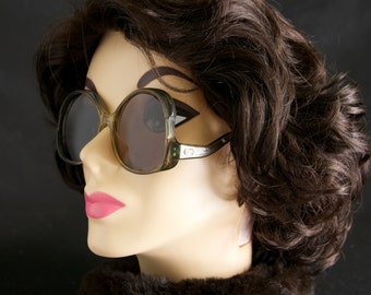 Vintage Taupe Brown Givenchy Butterfly Oversized Sunglasses