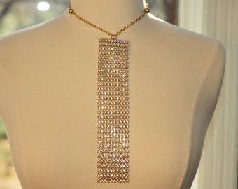 SALE Handmade Vintage Rhinestone Tie Necklace