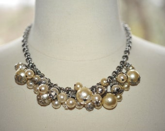 Handmade Vintage Faux Pearl Cluster Statement Necklace