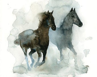 HORSES-14X11inch Print (Large size)-home decor-Animal art-poster-nature art