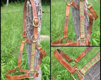 Leather Name Stamped Custom Horse Halter