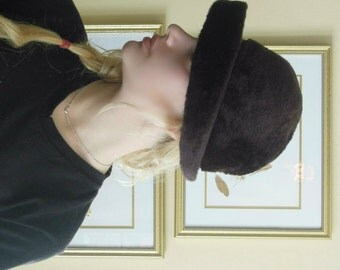 Vintage Faux Fur Derby Style / Bowler Style Hat / Mad Hatter