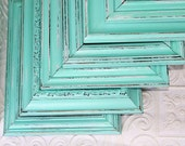 Turquoise Frame Hand Painted Distressed LightTurquoise Blue  Made to Order