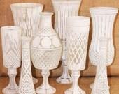 White Vase Set Shabby Chic Vintage Mixed Vase Set Made To Order