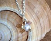Swarovski STARFISH Pendants w/ Freshwater Pearls - Silver Necklace - Crystal Golden Shadow - Beach Wedding - Bridesmaid - Choose Length