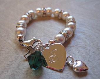Greek Monogram Baby Bracelet-Baptism-Christening-Cross- Baby Bracelets-Keepsake- Initial disc- blessing- communion- baby Shower gift