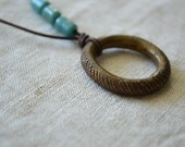 Snakeskin Ring Necklace. Rustic Jewelry. Eyeglass Chain. Brass Ring Necklace. Vintage Handmade Necklace. One of a Kind. African Pendant.