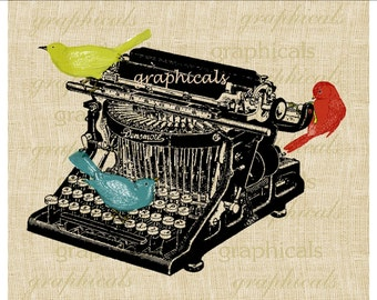 Old typewriter instant graphic clip art Bird digital download image for paper iron on fabric transfer burlap decoupage tag crafts No 1892