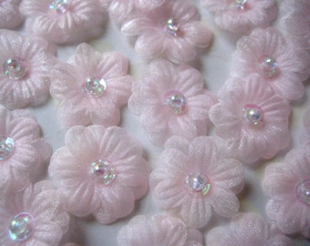 Pink Organza Flower 2 layers Sequin, Bead Center Appliques for Sewing, Crafting, Headbands, Princess Dress - 1 inch / 25 mm, 20 pcs