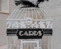 Large Wedding Birdcage Card Holder / Wedding Card Box / Great Gatsby Inspired / Vintage 1920's Style / Art Deco / Glam Wedding