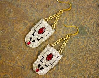 Coro Duette Fur Shoe Dress Clip Deco Nouveau 24k Gold Ruby Red Rhinestone Chandelier Earrings