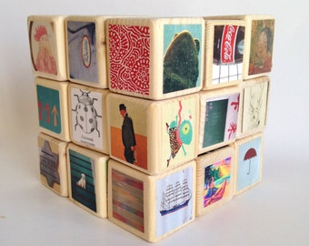 Wooden Blocks / Large Set / Hipster. Unique baby Shower Gift. eco-friendly.  MOD. Upcycled Toy. Children. Nursery Decoration. One of a Kind.