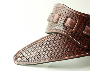 Leather Guitar Strap / Hand Tooled / Basketweave