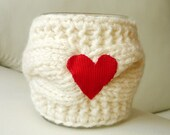 Mug Cozy with Red Heart, Coffee Mug Cozy,ecru color, Cup Cosy, Mug Warmer knitted,valentines gift, Wedding Gift,,