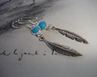 Turquoise and Feather Sterling Silver Dangle Earrings, Dainty, Southwestern, Modern