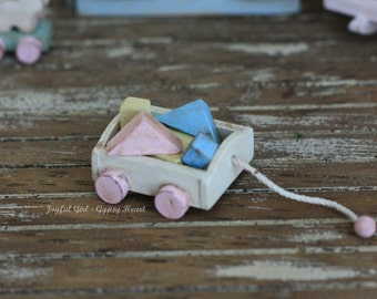 Shabby Country Miniature Vintage Style Dollhouse Wooden Block Pull Toy 1:12