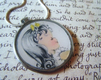 Antique monocle vintage girl yellow watering can reversible pendant necklace, found object, upcycled recycled repurposed