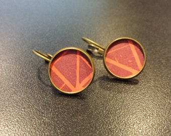 For the love of Architecture, Architecture Engineering Inspired Bronze Earrings, Cherry Red and Pink earrings, Professional Gift