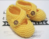 Hand Knitted Baby Shoes with crossover straps and button fastening in Lemon Yellow, Keepsake Gift Bag - A newborn gift idea from Cwtch Bugs