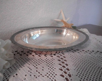 Vintage Silver Serving Dish Oval Bread Tray Thanksgiving Platter Christmas Wedding Decoration Holiday French Country Farmhouse Home Decor