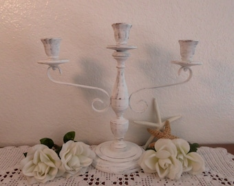 Wedding Unity Candle Holder White Shabby Chic Large Tall Rustic Candelabra Ornate Scrolled Spring Summer Fall Autumn Winter Decoration