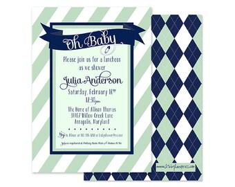 PREPPY STRIPED Baby Shower Invitation, Mint Green and Navy, Argyle, Custom Printable
