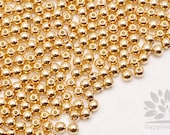 MB035-02-G// Gold Plated 4mm Round Metal Bead, 20pcs