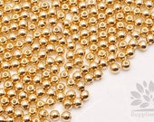 MB035-02-G// Gold Plated 4mm Round Metal Bead, 20 pcs