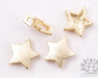 MB026-01-MG// Matt Gold Plated Star Shape Brushed Metal Beads, 4Pc