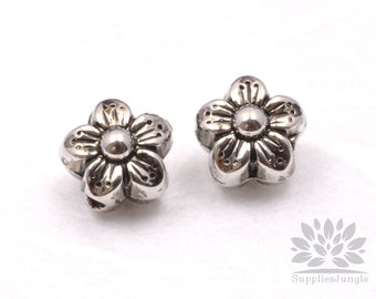 MB018-04-GM// Gun Metal Plated Flower Metal Bead, 6pcs
