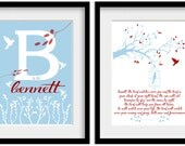 """The Lord Watches Over You. Psalm 121 Bible Personalized Custom Scripture Boys Wall Art. Baptism, Christening Gift. 10x8"""" Art print."""