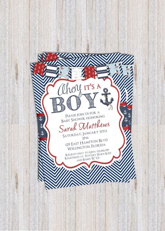 Nautical Baby Shower Invitation, Nautical Theme, Anchor Printable Invite