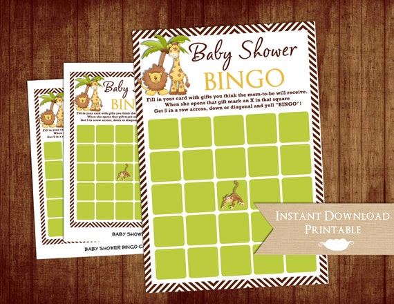 Jungle and Zoo Baby Shower Bingo Game Cards Monkey Lion Giraffe Chevron Printable INSTANT DOWNLOAD