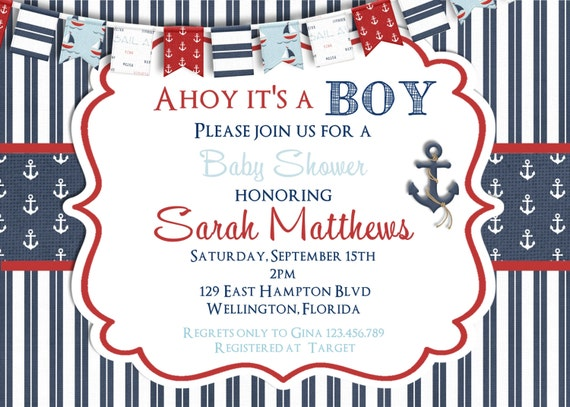 Ahoy It's A Boy Baby Shower Invitation Nautical Flag Navy and Red Printable Custom Invite