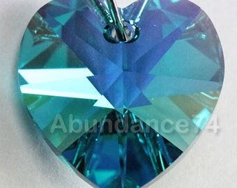 6 pcs Swarovski Crystal 10mm 6202 6228 Faceted  Heart Pendant Blue Zircon AB