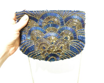 Vintage 1980's Art Deco Style Navy Purple Gold SEQUINED Zipper Clutch With Gold Chain Strap
