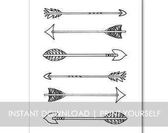 Just Arrows INSTANT DOWNLOAD Hand drawn illustration - black and white 8x10 scripture wall art decor