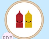 Kawaii Ketchup and Mustard Mini Cross Stitch Pattern PDF INSTANT DOWNLOAD