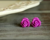 Rose Flower Earring Studs, Multiple Colors Available