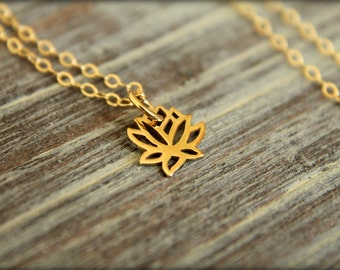 Lotus Flower Necklace in Bronze and Gold-filled