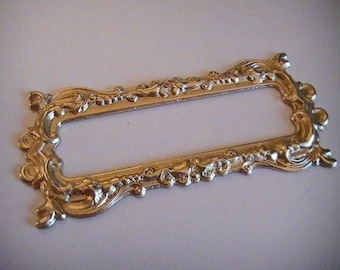 Raw Brass Stamping Frame Vintage Style Mixed Media Embellishments Vintage Style Raw Brass Frame Unplated DIY Finish 1pc