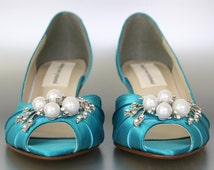 Blue Wedding Shoes -- Mermaid Blue Peeptoe Wedding Shoes with Pearl and Rhinestone Adornment