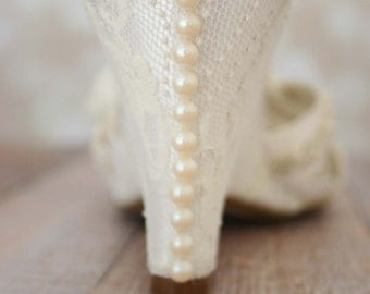 Ivory Wedding Shoes, Wedge Wedding Shoes, Ivory Lace Shoes, Lace Wedge Wedding Shoes, Lace Wedding Shoes, Ivory Bridal Accessories, Pearls