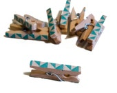 Miniature Wooden Clothes Pegs. Aqua and White. Triangles. Geometric Pattern. Nursery Decor.