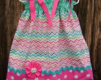 Chevron Multicolor...Girls Pillowcase Dress Infant toddler sizes 0-6, 6-12, 12-18, 18-24 months, 2T, 3T..Bigger sizes AVAILABLE