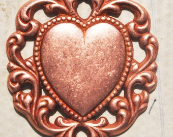 Brass Heart Charm with Lace Border, Rose ox- Steampunk Supplies by CalliopesAttic