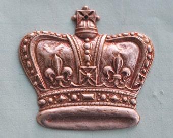 Flat Medieval Crown Brass Pendant, Rose Ox