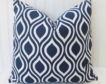 Blue Pillow - Throw Pillow - Blue Ikat Pillow - Navy Blue White Pillow Cover - Indigo Blue Pillow - Cushion - 18 inch - All Sizes