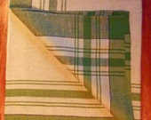 "Vintage New Old Stock Linen Table Cloth - 54"" Square - Green and White Plaid"